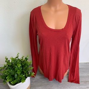 Michael Stars Red Long Sleeve TShirt Top Blouse OS